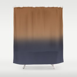 Ombre Blue and Rust Herringbone Pattern Shower Curtain