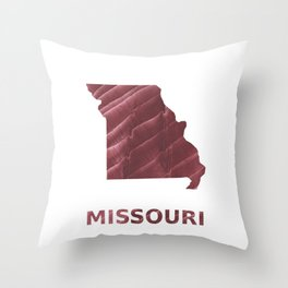 Missouri map outline Burgundy stained wash drawing picture Throw Pillow