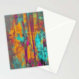 Burst Of Energy! - Abstract, orange, blue, pink, purple and green oil painting  Stationery Cards