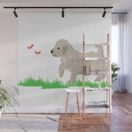 Cockapoo dog art cream Wall Mural