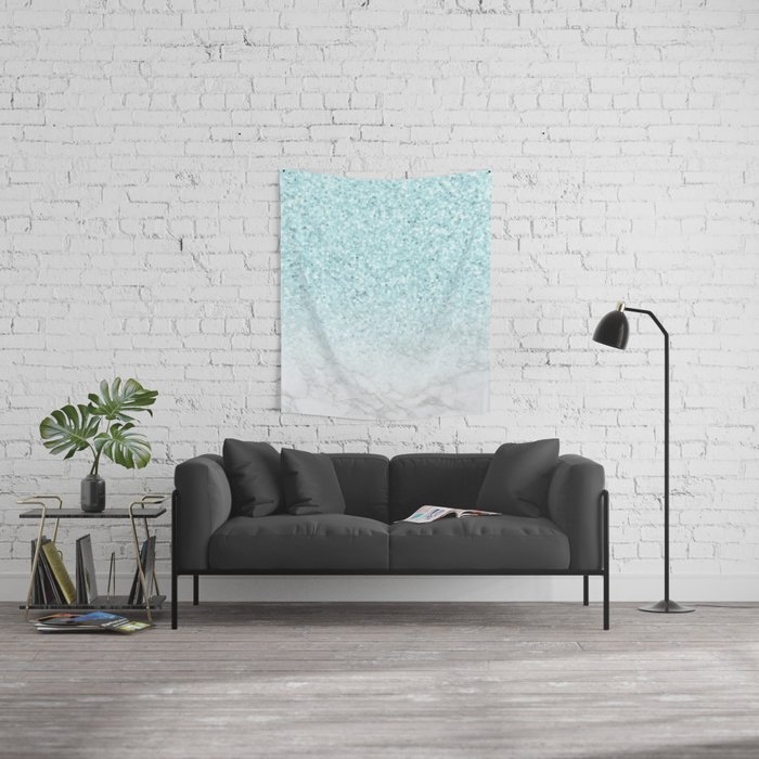 Pretty Turquoise Marble Sparkle Wall Tapestry