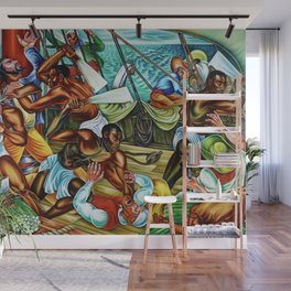 """African American Classical Masterpiece """"The Mutiny on the Amistad"""" by Hale Woodruff Wall Mural"""