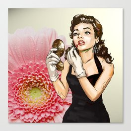 Retro Pinup Girl Compact Lipstick & Pink Flower Canvas Print