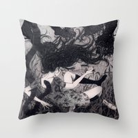 panther Throw Pillows featuring Panther by Olivia Chin Mueller