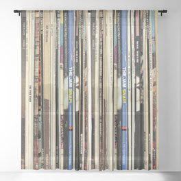 Classic Rock Vinyl Records Sheer Curtain