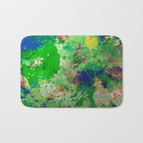 Spring Time Splatter - Abstract blue and green platter painting Bath Mat