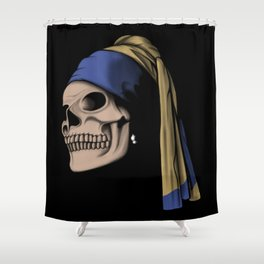 The Skull with a Pearl Earring Shower Curtain