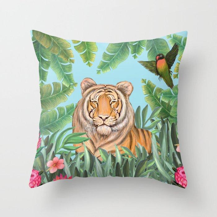Tropical tiger jungle, tropical flowers Throw Pillow