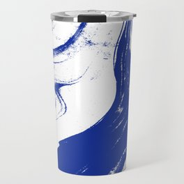 Marble blue 1 Suminagashi watercolor pattern art pisces water wave ocean minimal design Travel Mug