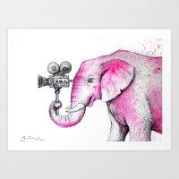 Filming Pink Elephant Art Print