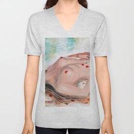 nude woman with red rose Unisex V-Neck