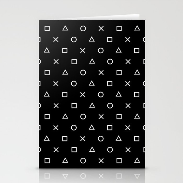 Gamer Pattern (White on Black) Stationery Cards