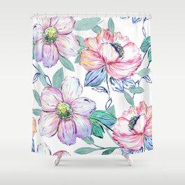 Romantic watercolor flowers hand paint design Shower Curtain