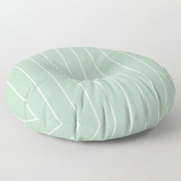 Minimalist Pin Stripes in White on Sage Green Floor Pillow