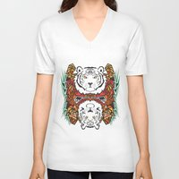 tigers V-neck T-shirts featuring Tigers by Ornaart