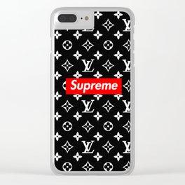 Supreme lv black Clear iPhone Case