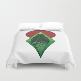 Geometric Crow in a diamond (tattoo style - color version) Duvet Cover