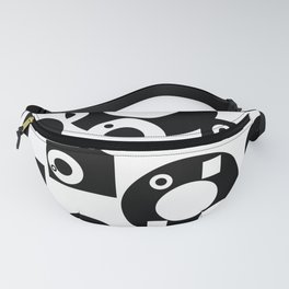 Black& White Rings Rectangle Fanny Pack