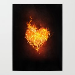 Fire Flame Burn Heart Love Poster