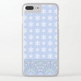 Baby Blue Lace and Stars Clear iPhone Case