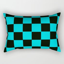 Turquoise & Black Chex 2 Rectangular Pillow