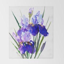 Garden Irises, Blue Purple Floral Design Throw Blanket