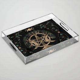 Tree of Life Pentagram Moon Ornament Acrylic Tray