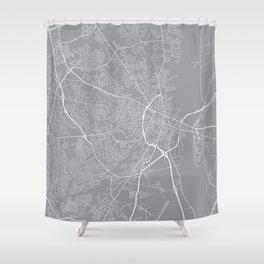 Fayetteville Map, North Carolina USA - Pewter Shower Curtain
