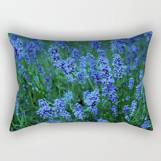 Glowing Blue Floral Rectangular Pillow