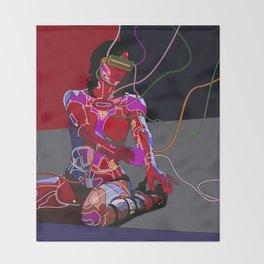 Jessica Biel 80s cyborg Throw Blanket
