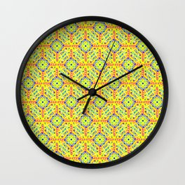 geometric festival pattern yellow Wall Clock