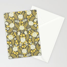 Gray, Yellow, Blue & White Floral Pattern With Roses & Ferns Stationery Cards