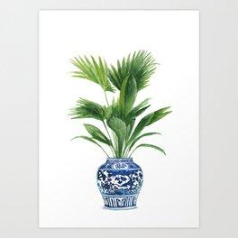 Palm leaves, ming vase Art Print