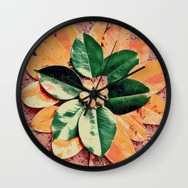 Peach and Flower Wall Clock