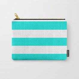 Bright turquoise - solid color - white stripes pattern Carry-All Pouch