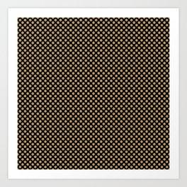 Black and Pale Gold Polka Dots Art Print