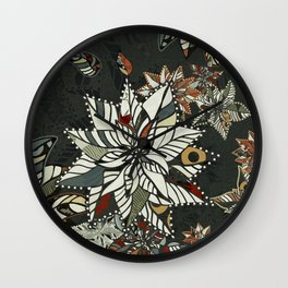 poinsettia plant vector winter Wall Clock