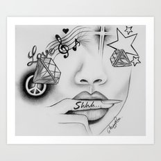 Rihanna - Shine bright like a diamond 'Shhh..' lips - Ashley Rose Art Print