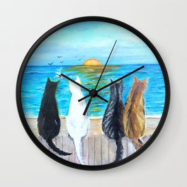 Cat Beach Sunset Wall Clock