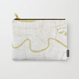 New Orleans White and Gold Map Carry-All Pouch