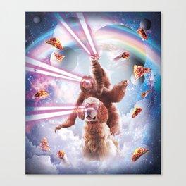 Laser Eyes Space Cat Riding Sloth, Dog - Rainbow Canvas Print