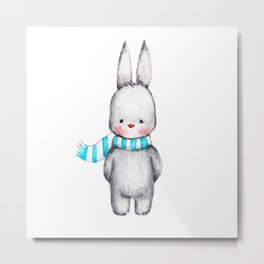 The Drawing of Cute Bunny in Scarf Metal Print