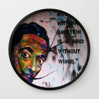 salvador dali Wall Clocks featuring Salvador Dali by Ruby Chavez