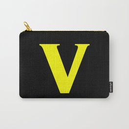 v (YELLOW & BLACK LETTERS) Carry-All Pouch