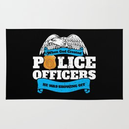 God Created Police Officers Showing Off Rug