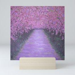 Cherry Blossom Lane, Spring pink floral landscape painting Mini Art Print