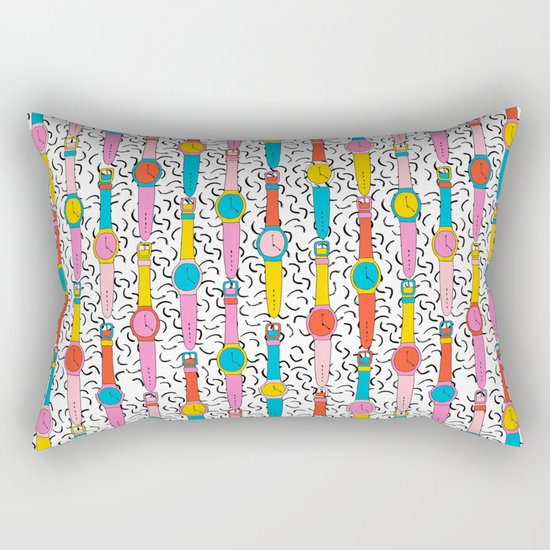 Happenin' - throwback 1980's style art print swatch watch retro vintage hipster dorm decor urban bro Rectangular Pillow