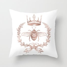 Queen Bee in Rose Gold Pink Throw Pillow