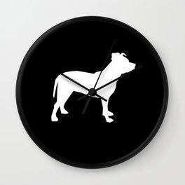 Pitbull silhouette black and white minimal modern dog breed art pillow square Wall Clock