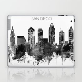 Black and white watercolor San Diego skyline Laptop & iPad Skin